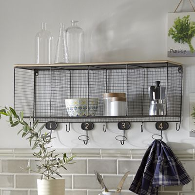 Take Advantage Of Extra Wall Space And Hang Kitchen Wall Shelves With Wire  Cubbies And Hooks. Youu0027ll Have A Place To Put All Those Miscellaneous Items  And ...