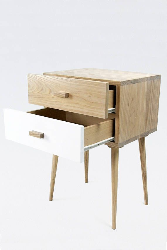 Nightstand Mid Century modern made of solid ash wood / wood Bedside ...