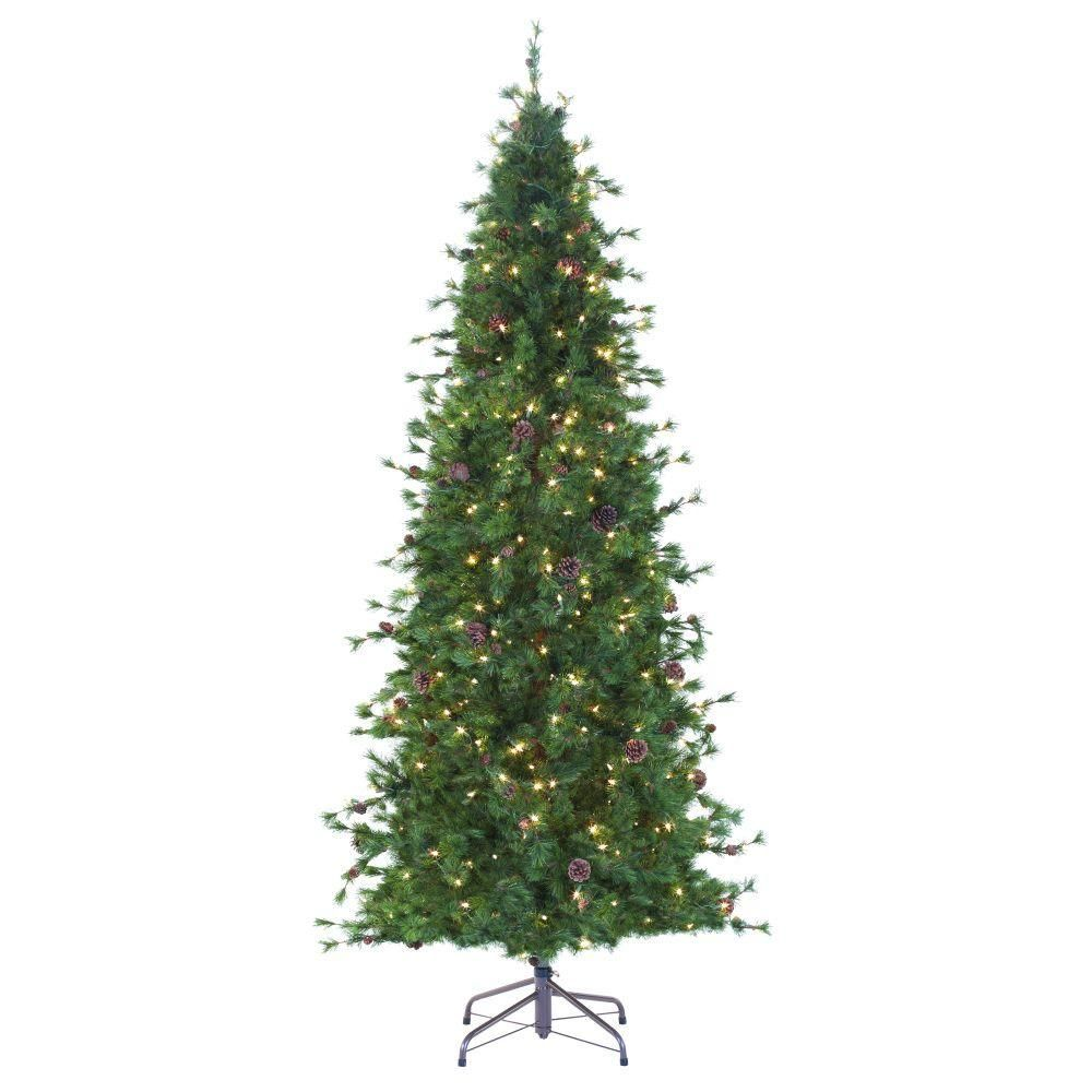 8 Ft Indoor Pre Lit Bristle Cone Pine Slim Hinged Artificial Christmas Tree Greens