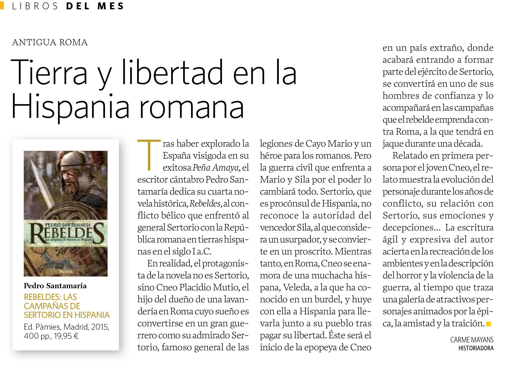 ¡REBELDES de Pedro Santamaría en National Geographic!  #Cantabria #cántabros #ciervablanca #Hispania #Huesca #noveladeromanos #novelahistórica #Pàmies #PedroSantamaría #Rebeldes #Sertorio
