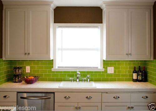 Tile Deals Samples London Metro Lime Green Gloss Brick Wall Tiles