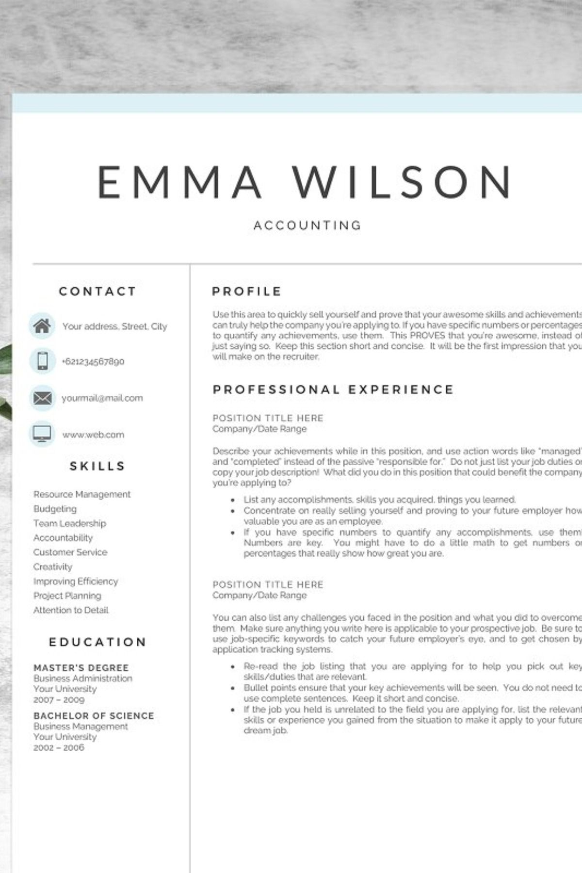 Professional Resume Template 5 Pages Simple resume