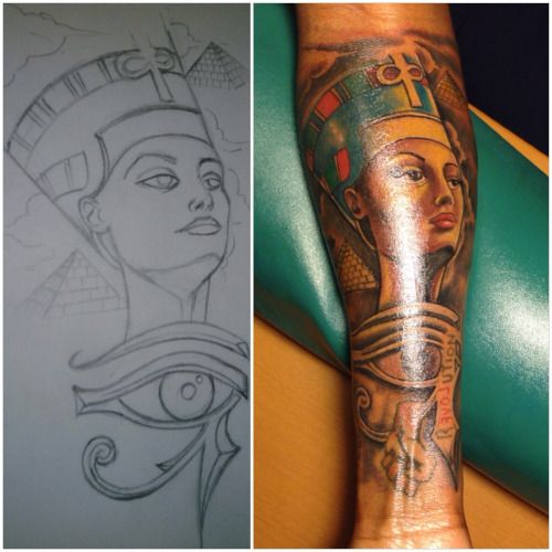 e995b615d6f30 tattoo ink Queen she is beautiful forearm nefertiti eye of Ra Egyptian  Pyramids inkhead
