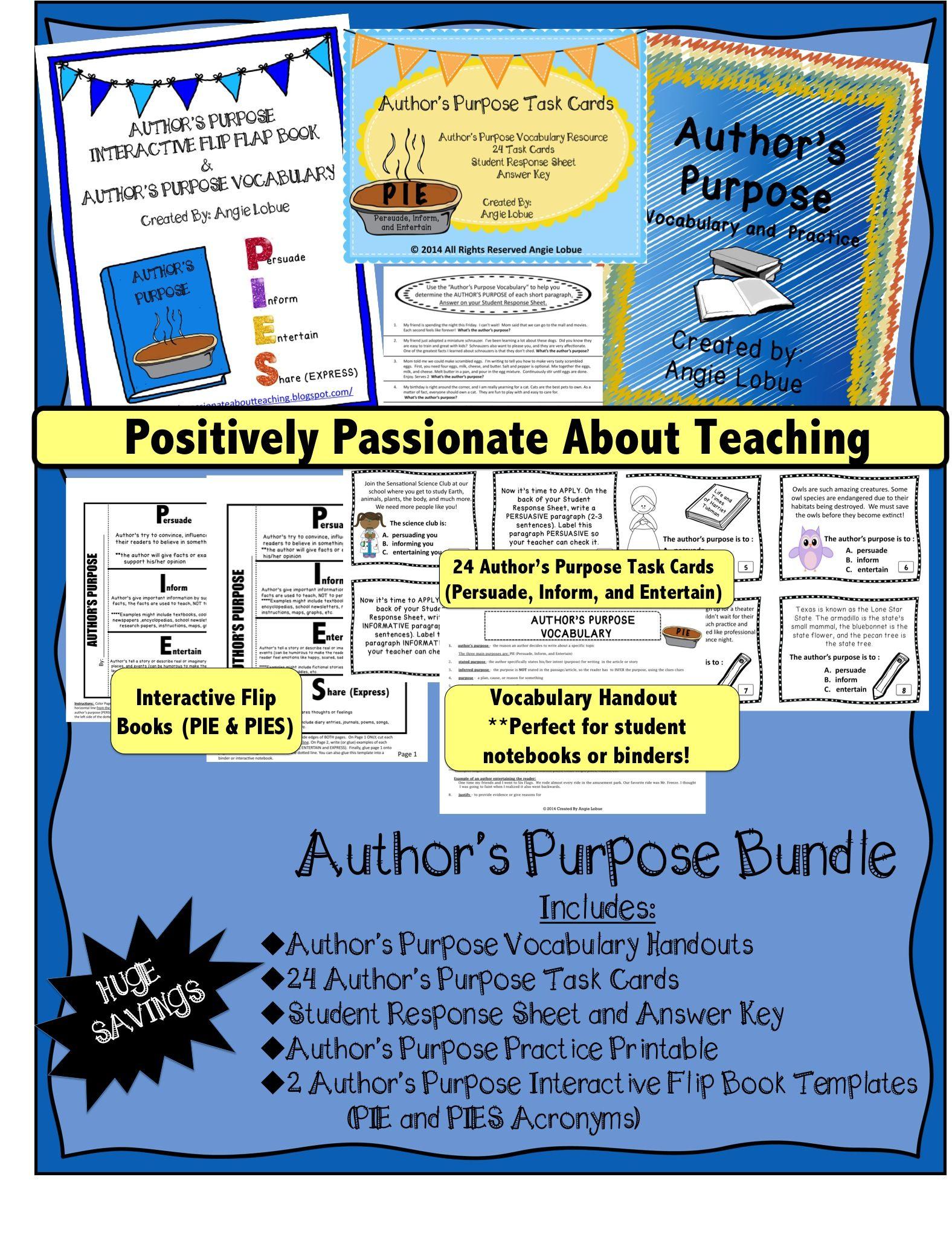 Author S Purpose Bundle Vocabulary Flip Books Printable Amp Task Cards