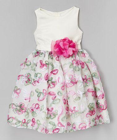 Another great find on #zulily! Ivory & Pink Ruffle Flower Overlay Dress - Girls #zulilyfinds