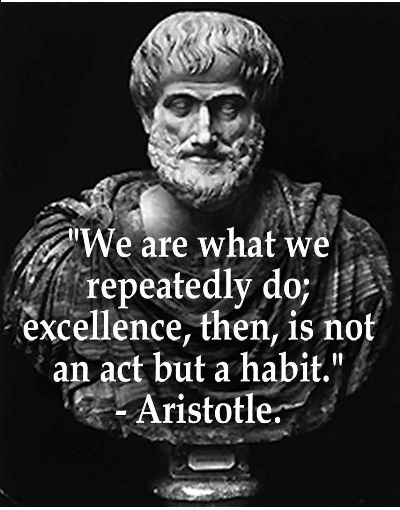 Wir sind, was wir wiederholt tun. Exzellenz ist also keine Handlung, sondern eine Gewohnheit. – Ar …   – If Going Through Hell…