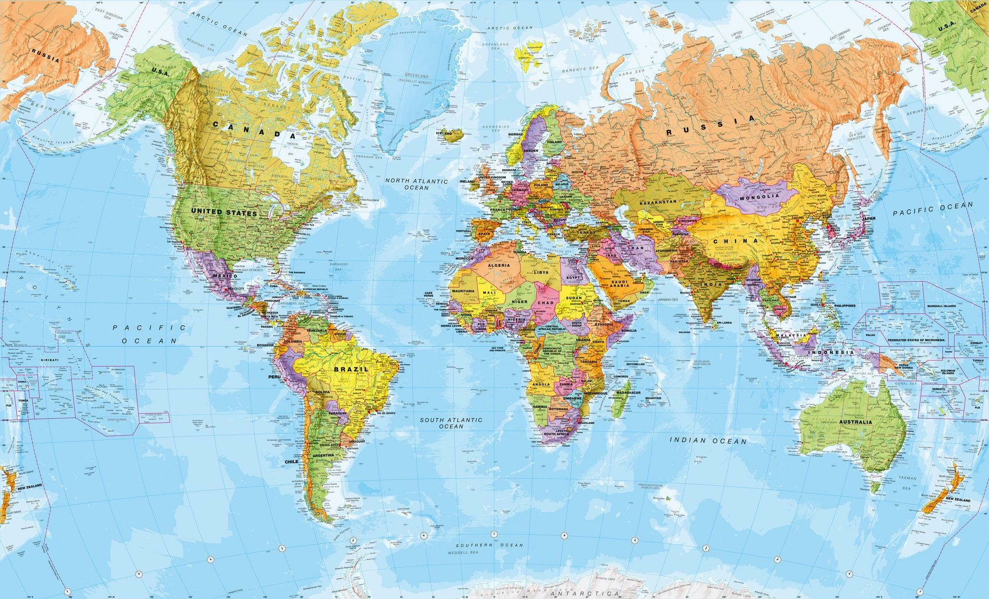political world map wall mural wallpaper interest highlight area the