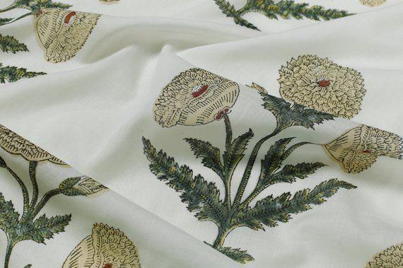Indian Fabric Beautiful Fabric Fabric Sold Floral Beautiful Block Hand Print Floral Fabric Cotton Fabric