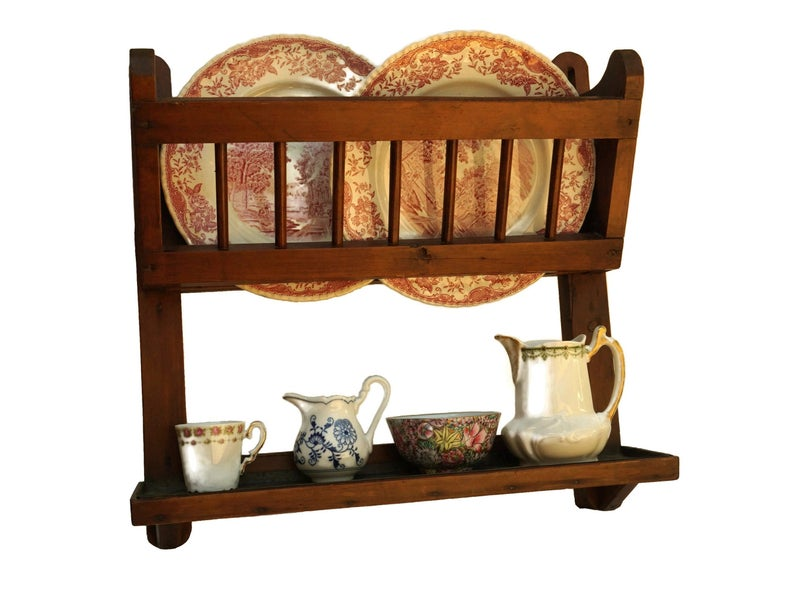 Antique Wooden Hanging Plate Rack, Wall Mounted French Dish Drainer and Shelf, Rustic Country Kitchen Decor