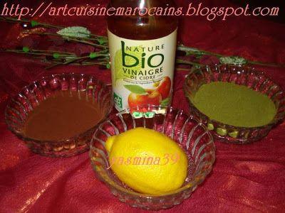 Henné jus de citron vinaigre de pomme cacao