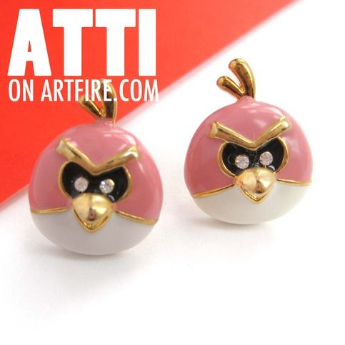Red Angry Birds Inspired Round Animal Stud Earrings #birds #angrybirds #jewelry #earrings #animals