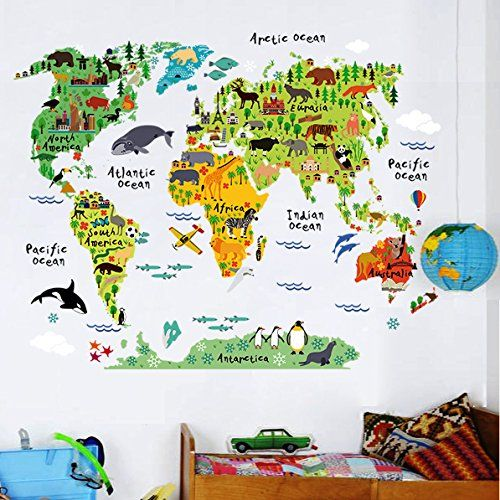 Home evolution large kids educational animalfamous building world amazing home evolution large kids educational animalfamous building world map peel stick wall gumiabroncs Gallery