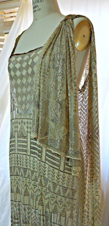 1920s Assuit evening dress, gold metallic, Art Deco, Egyptomania. Detail