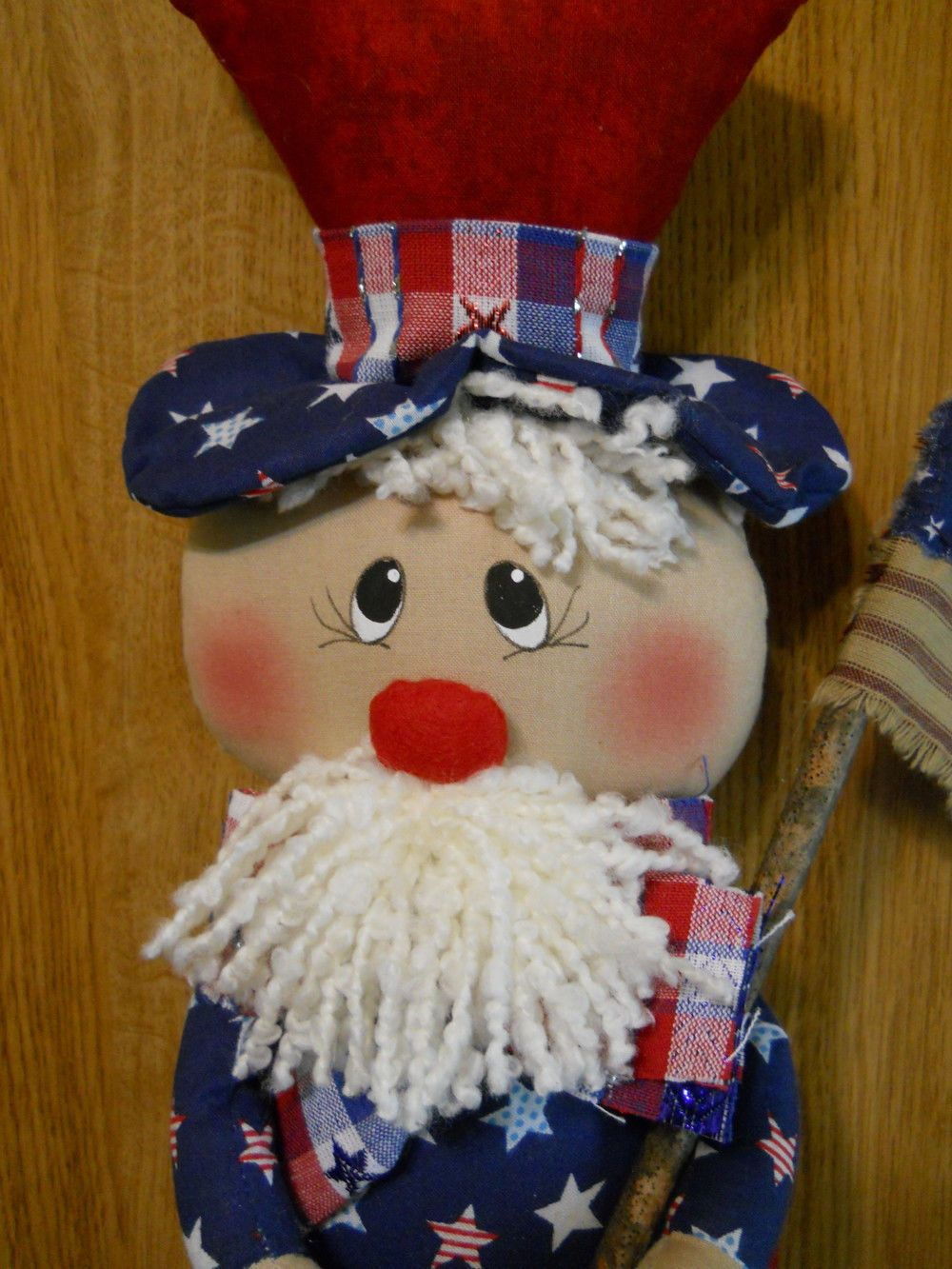 PRIMITIVE HANDCRAFTED HANGING WALL OR DOOR UNCLE SAM DOLL picclick.com