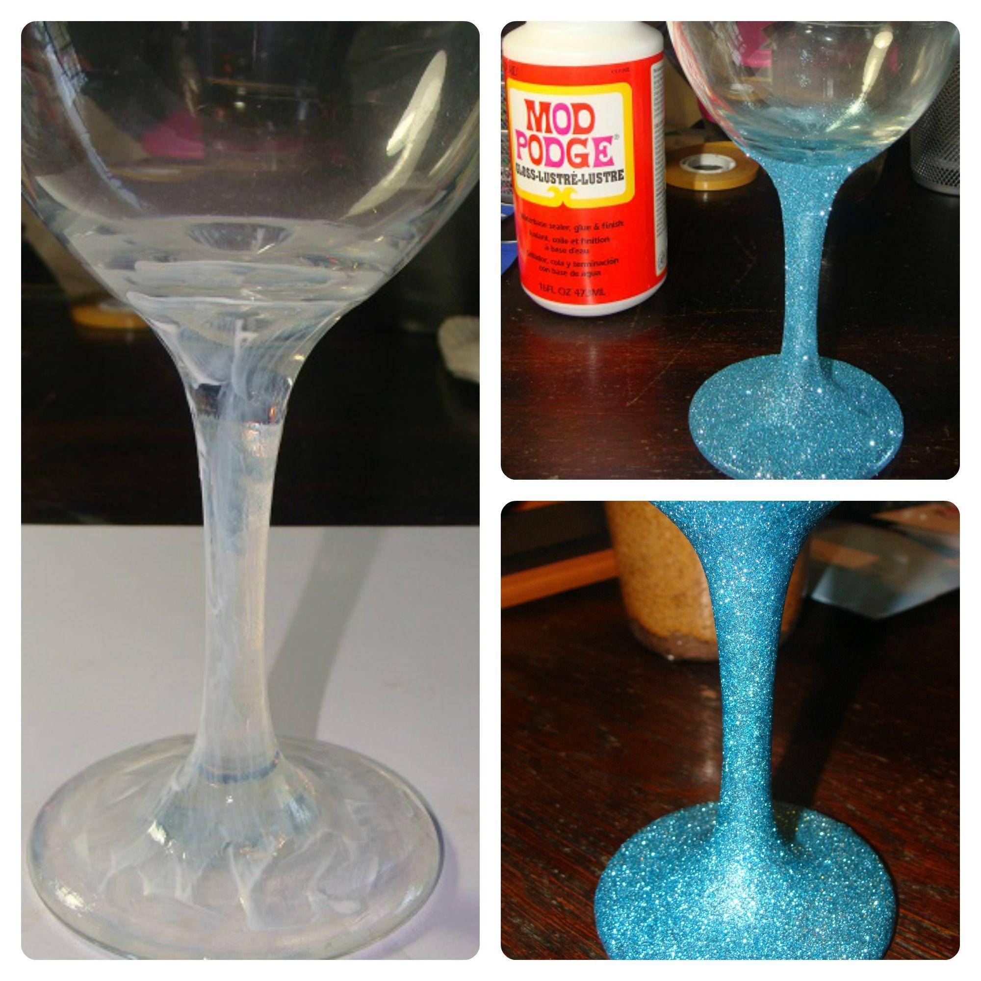 DIY custom wine glass with glitter stem!   Fun wine glasses, Wine glass crafts