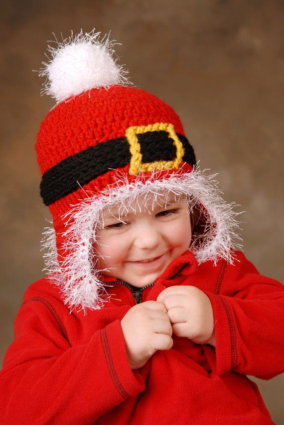Santa Beanie With Earflaps Kids Crochet Hat By Playinhookydesigns