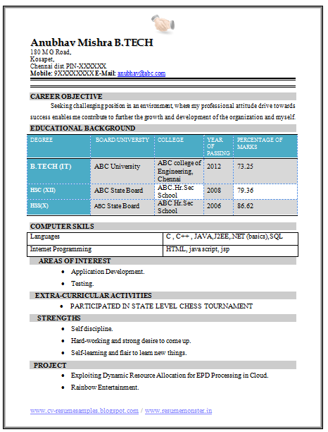 b tech fresher resume sample  it   1