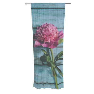 East Urban Home Peonie by Nastasia Cook Graphic Print Rod Pocket Single Curtain Panel