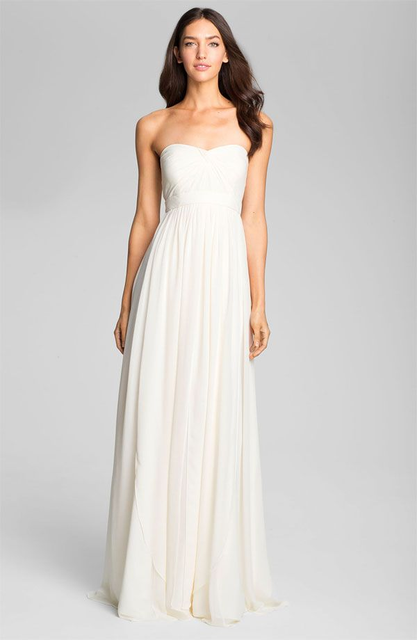 Images of Long White Chiffon Dress - Reikian