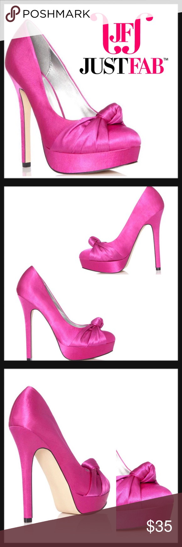"JustFab 7.5 GABBY Satin Stiletto Heels Pumps Shoes Just Fabulous Fuchsia ""Gabby"" Stiletto Condition: New without box Size: 7.5 Color: Fuchsia Pink Product Detail: Silky satin material 5"" Heel Bow details Man made sole Man made upper detail design New unused JustFab Shoes Heels"