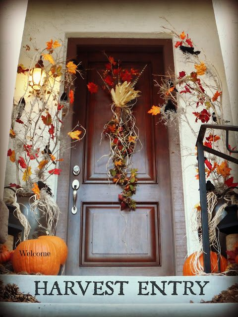 To Set a Harvest Entry for Fall: 1. Create height with found branches. 2.Add color with faux leaves + real pumpkins. 3.Use a Fall garland swag on the door from #HomeGoods en lieu of a wreath. Lynda Quintero-Davids #Fall #HomeGoodsHappy