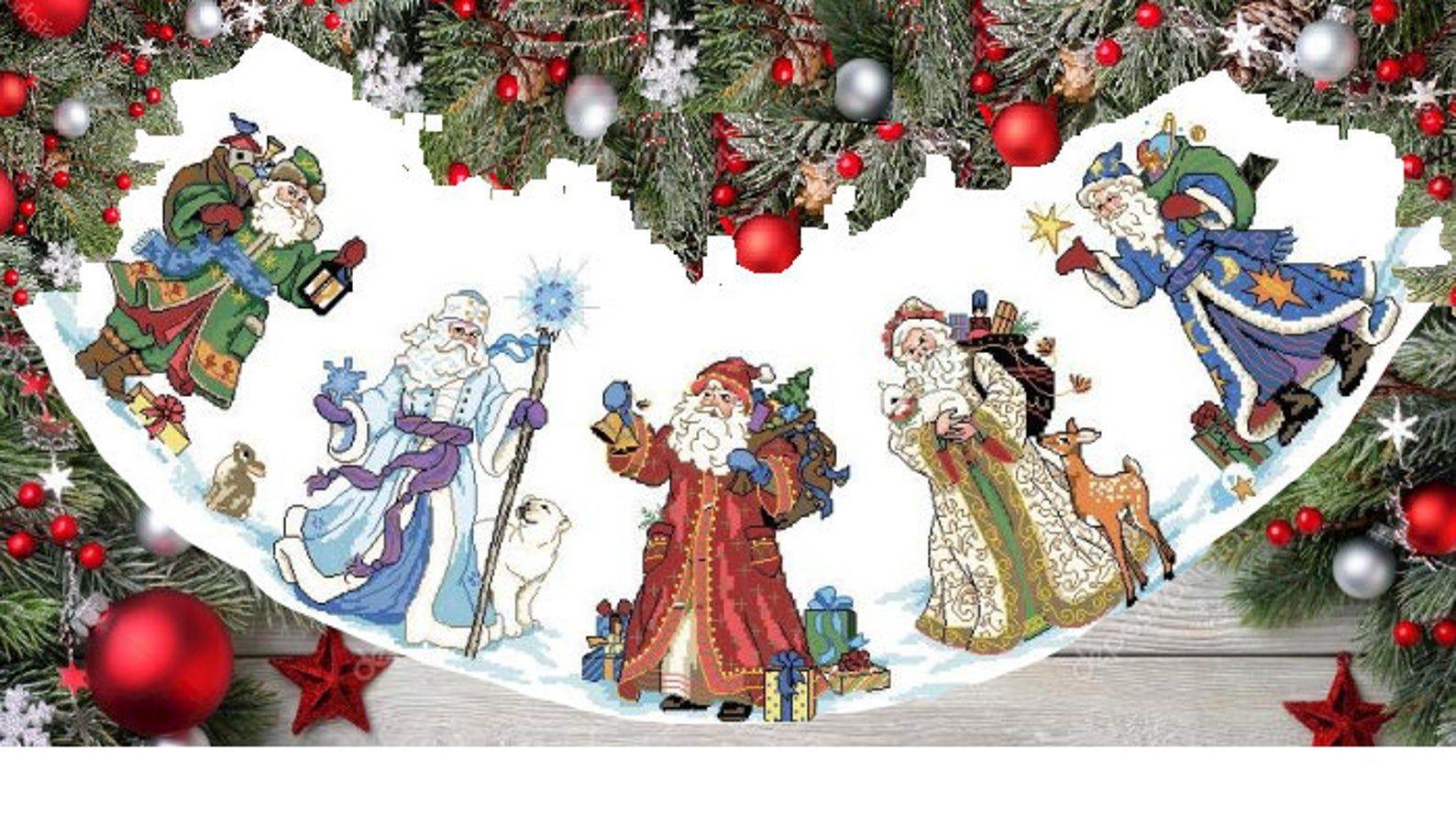 Santa Christmas Tree Skirt Pattern Cross Stitch Christmas Etsy In 2020 Christmas Tree Skirts Patterns Tree Skirt Pattern Christmas Tree Skirt