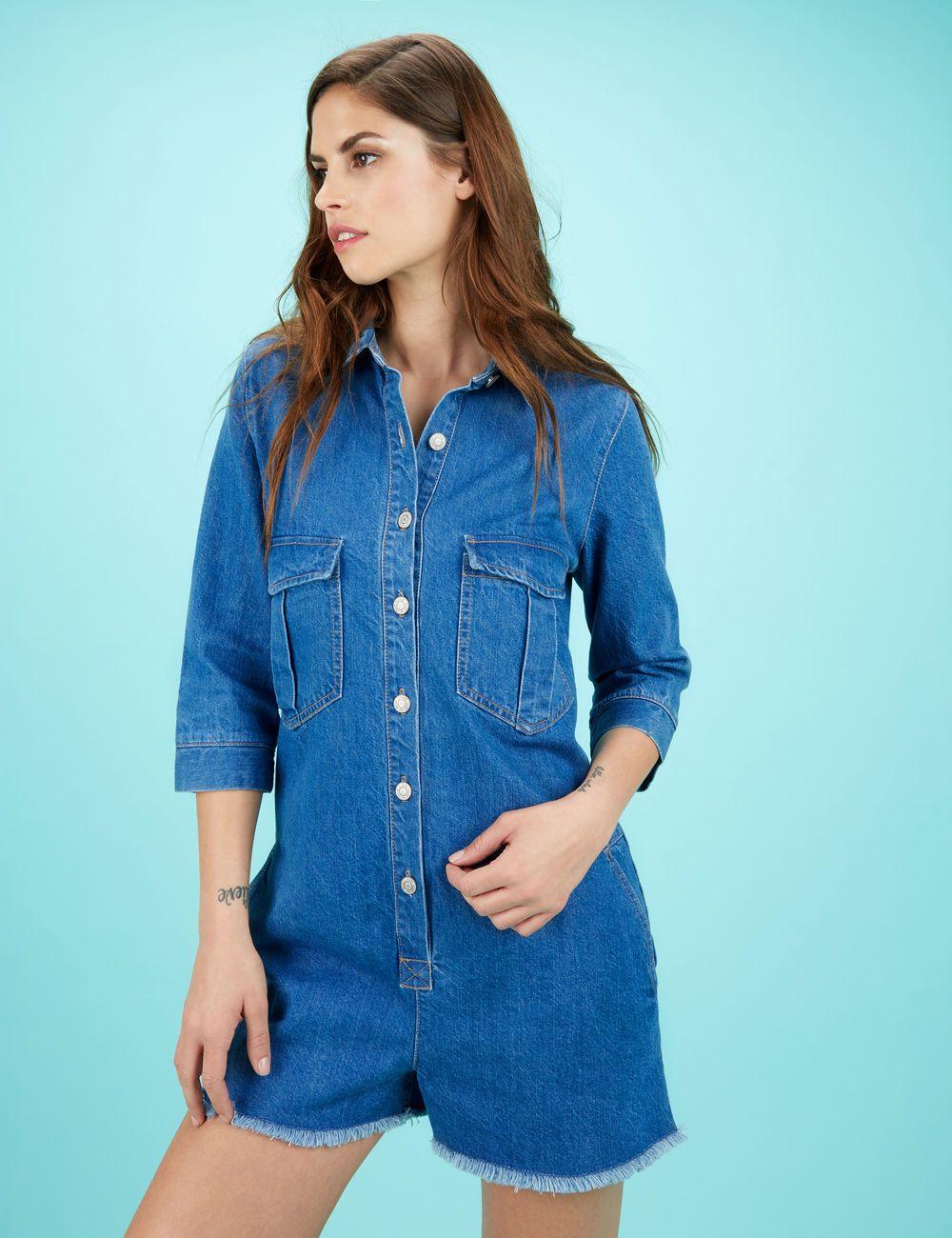 en femme jean boutonnée medium 15 Combishort blue wnaZEFzq