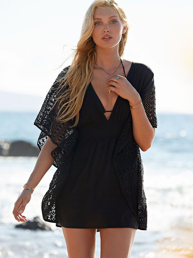 Victorias Secret bikini coverup sleep shirt sheer black solid L
