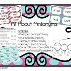 This set includes: *Find Your Buddy Activity with directions in color and in black & white *Four Corners Activity with directions in color and in black & white *Antonym Ants Activity with directions and example *Antonyms Scoot with directions and answer key in color and in black & white *Antonyms Cut & Paste Activity / Assessment with answer key  Have fun!