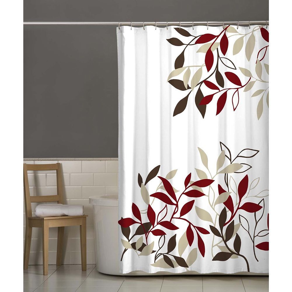 Maytex Satori Fabric Shower Curtain Fabric Shower Curtains Red
