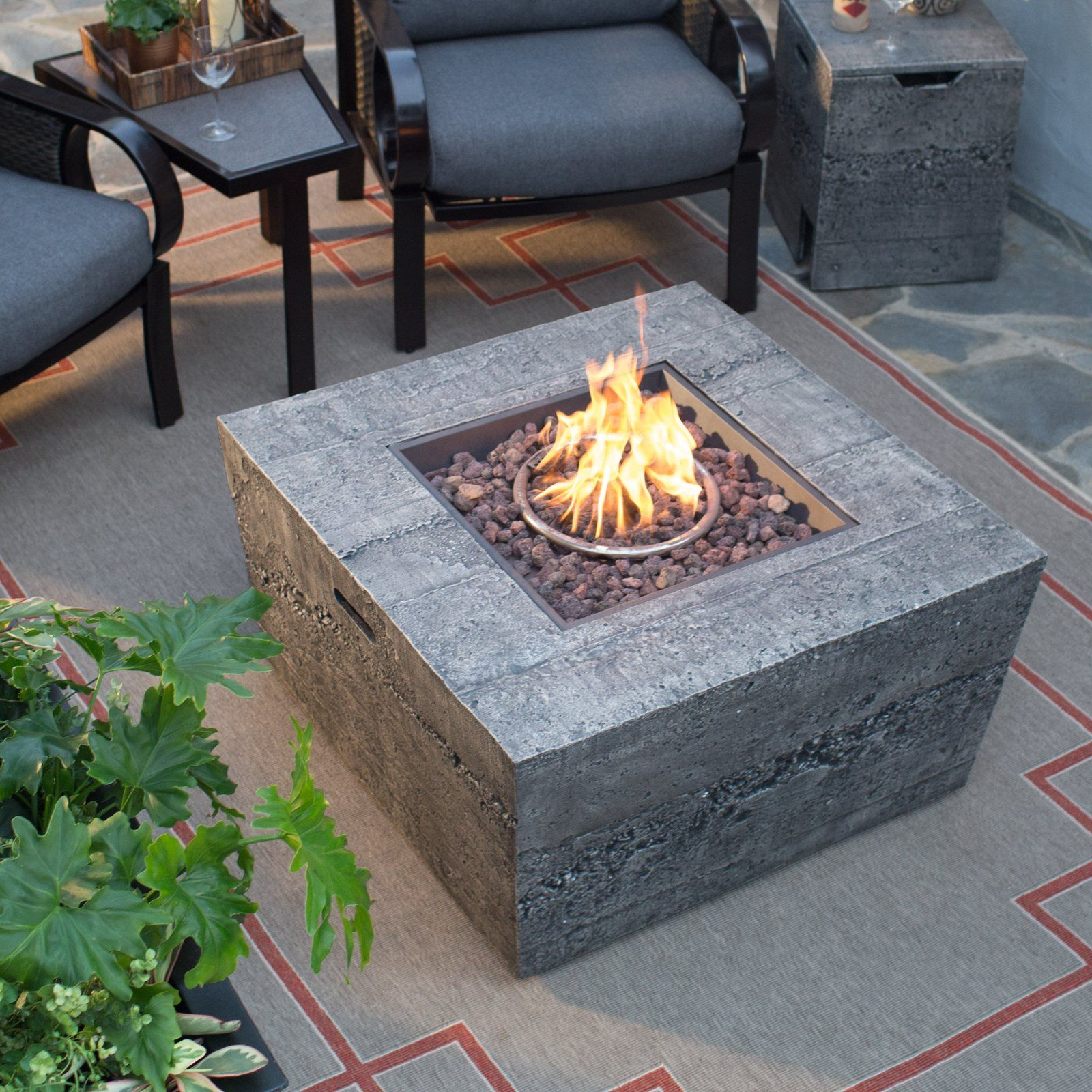 Belham Living Glacier Stone 35 In Square Gas Fire Pit Table With Free Cover Gas Firepit Gas Fire Pit Table Square Fire Pit