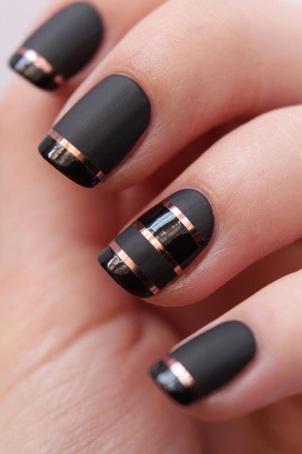 50 Sassy Black Nail Art Designs To Envy | Stripped nails, Black nail ...