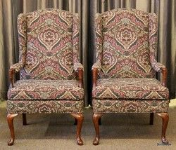 Pair Of Petite Wing Back Chairs With Bolster Pillows By C. R. Laine.  #OnTheShowroomFloor #
