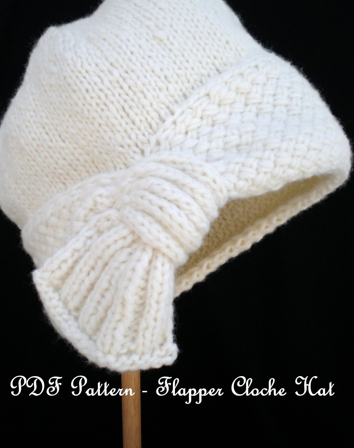 PDF Knit Hat Pattern - Flapper Cloche Hat | Sombreros cloche, Aletas ...