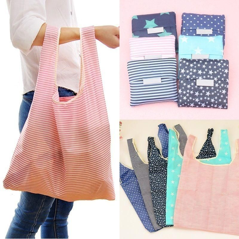 1PC Women Foldable Reusable Nylon Eco Storage Travel Shopping Tote Grocery Bag