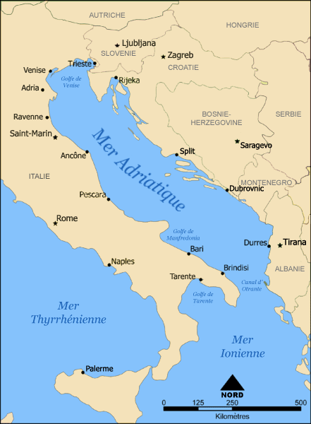 Otranto Italy Map.Adriatic Sea And Ionian Sea Between Is The Strait Of Otranto Canale