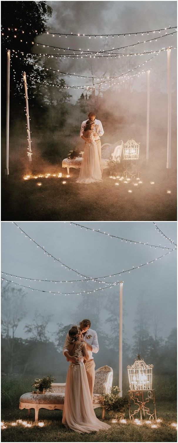 Top must see night wedding photos with lights in wedding