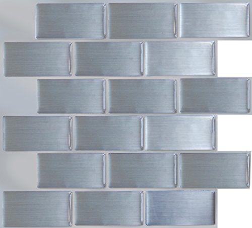 Peel Impress 11 25 X 10 Adhesive Vinyl Wall Tiles Steel Subway 4 Pack Peel Impress Http Www Vinyl Wall Tiles Primitive Kitchen Diy Remodel