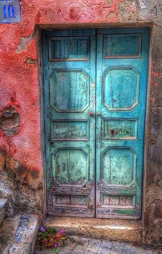 Photo of Modica, Sicily, Italy, old wooden door, blue, turquise, weathered, aged, cracks,…