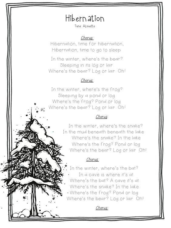 """Song, """"Hibernation"""" (Tune: """"Alouette""""):"""