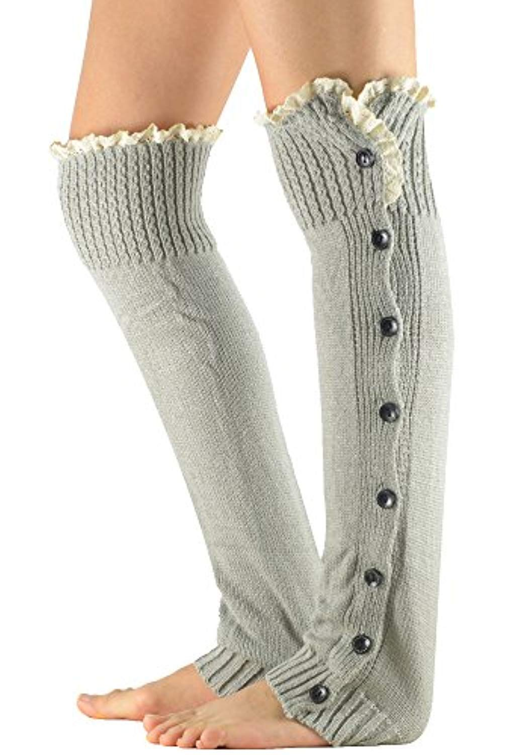 20af21c0027 Women s Knitted Lace Boot Cuffs Thigh High Socks Crochet Long Leg Warmers      You can get additional details at the image link. (This is an affiliate  link) ...