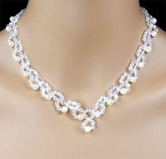 SHOWStopping Swarovski Crystal Ivory Pearl Necklace Earring Set