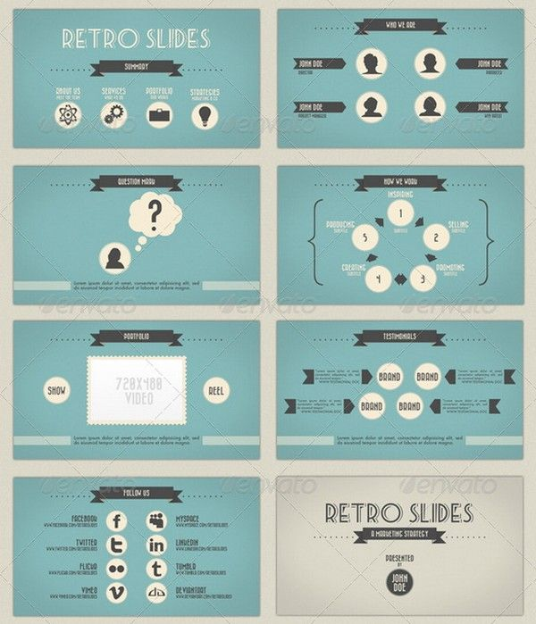 retro and vintage powerpoint templates 1 design elements