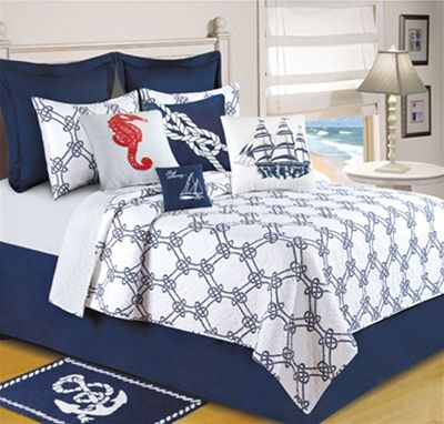 navy and white quilted bedding | ... quilt, Anchor, Seahorses ... : navy white quilt - Adamdwight.com