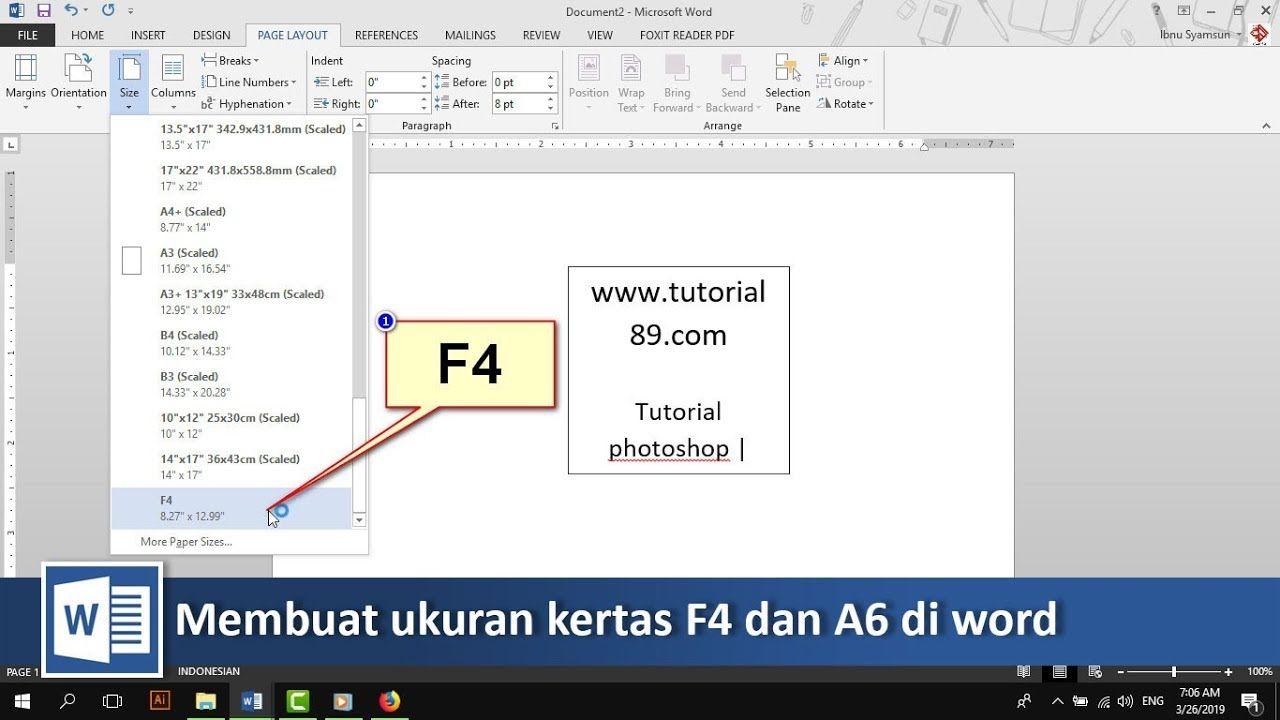 Cara Menambahkan Ukuran Kertas F4 Dan A6 Di Word Tutorial89 Tutorial Microsfot Word Di Video Ini Kita Akan Belajar Bagaiman Ukuran Kertas Microsoft Belajar
