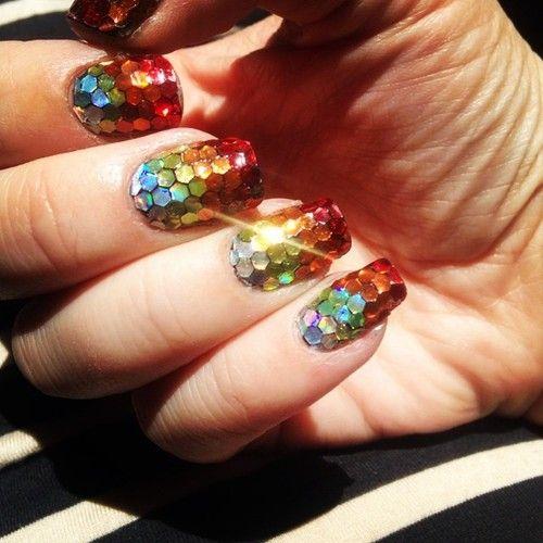 Hexagon Glitter Nails Glitter Nail Art Pinterest Glitter Nails