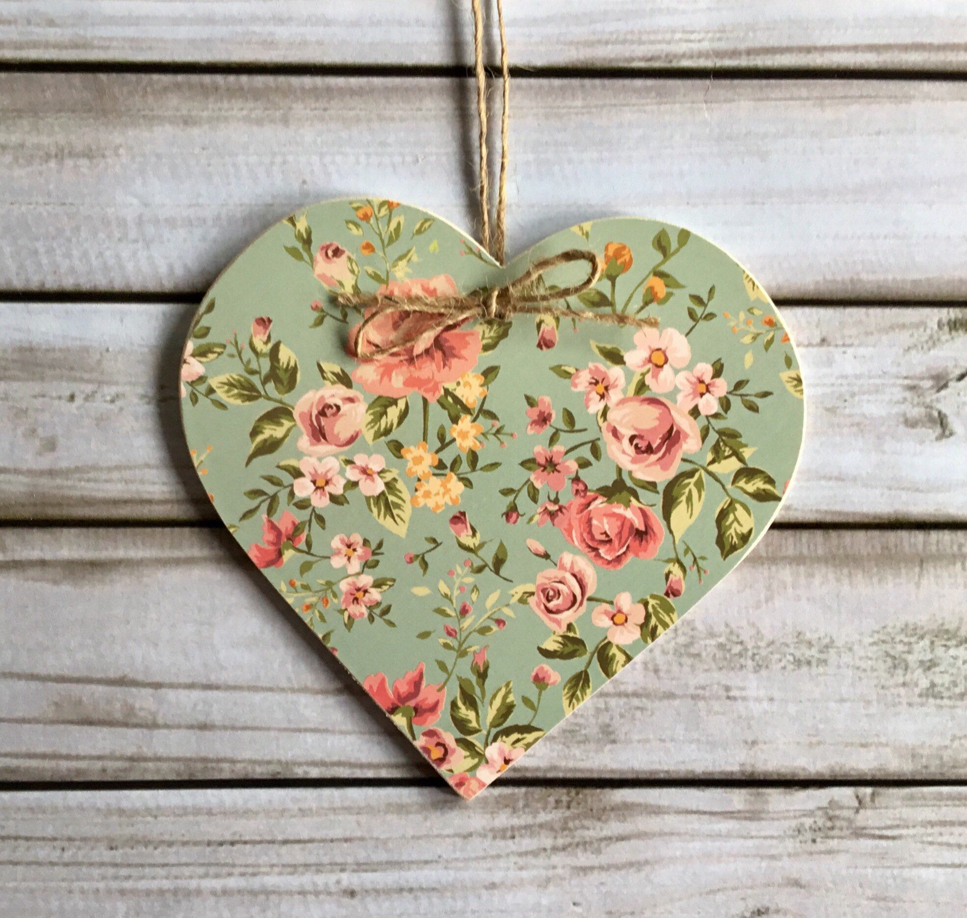 Pink Roses Green Floral Wooden Hanging Heart Home Decor Wooden Hearts Crafts Heart Diy Crafts Valentine Crafts