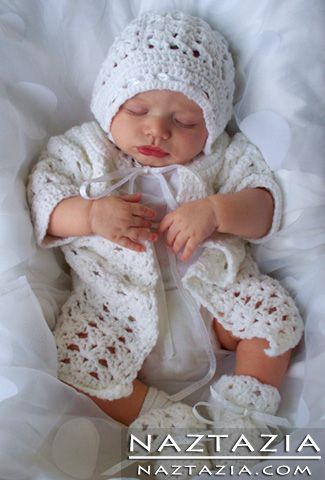 Crochet Baby Boy or Girl Baptism Outfit