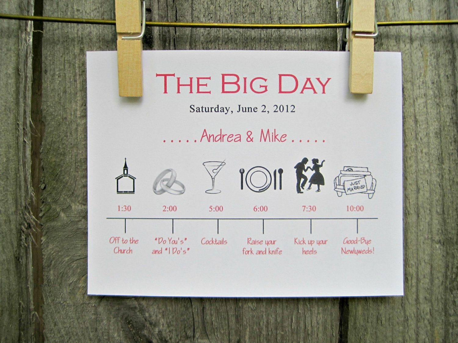 wedding day timeline card wedding schedule of events wedding