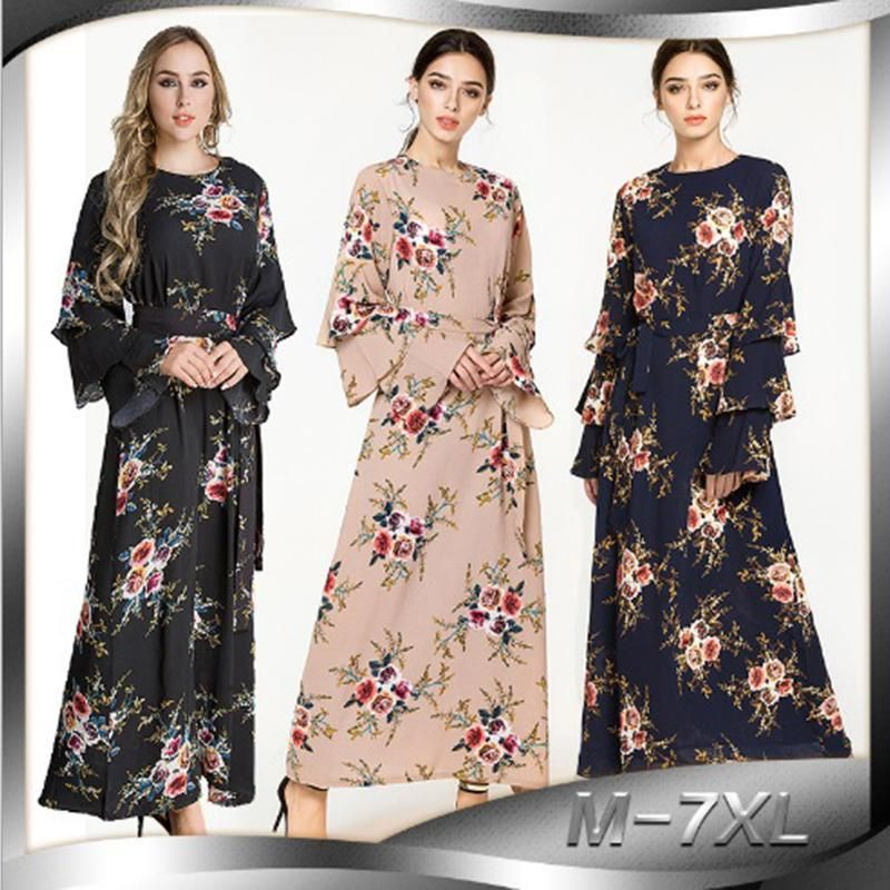 Muslim Maxi Dress Printabaya Full Length Long Robe Gowns Cardigan